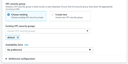 RDS Configure Security Group