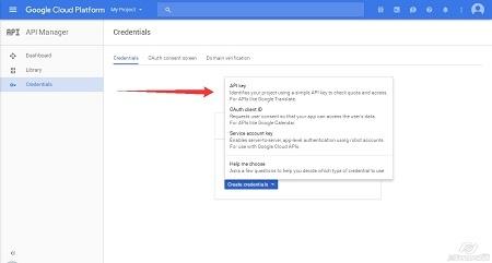 Google Cloud Platform - Create Credentials step1