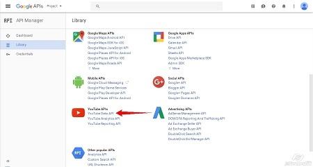 Google Cloud Platform - Enable Youtube API step1
