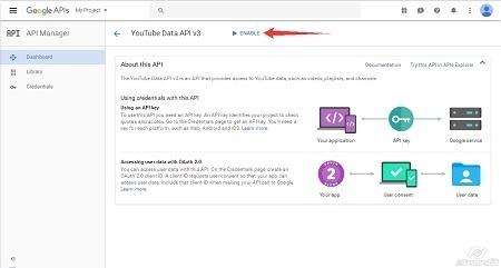 Google Cloud Platform - Enable Youtube API step2