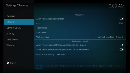 Kodi Allow Remote Control from Applications