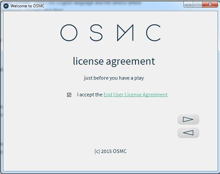 OSMC Installation Accept License