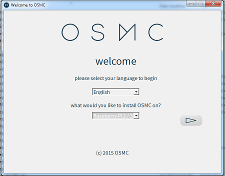 OSMC Installation Select Language and Device