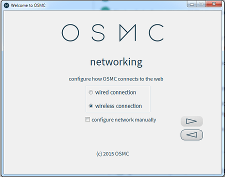 OSMC Installation Select Networking