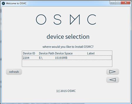OSMC Installation Select Storage