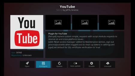 Youtube Add On - Configure