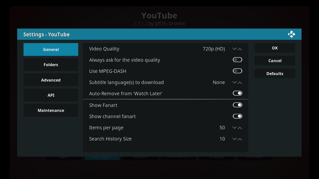 Youtube Add On - Configure General Tab