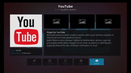 Youtube Add On - Install