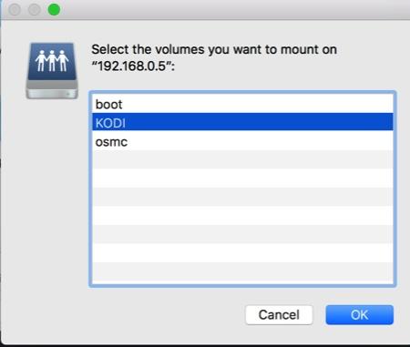 Samba Share on Mac - Select Shared Folder