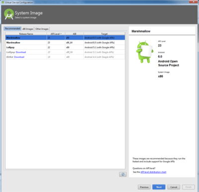Android Studio AVD System Image
