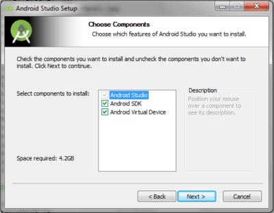 Android Studio Choose Components Panel