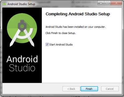 Android Studio Completing Setup Panel
