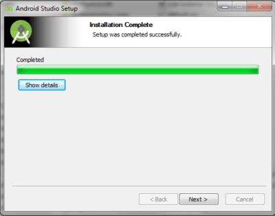 Android Studio Installation Complete Panel