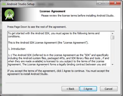 Android Studio License Agreement Panel