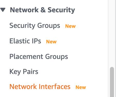 Security Groups Menu