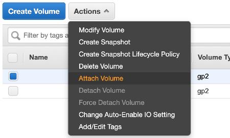 Amazon EBS Attach Volume
