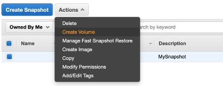 EBS Create Volume from Snapshot
