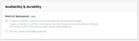 RDS Configure Multi AZ